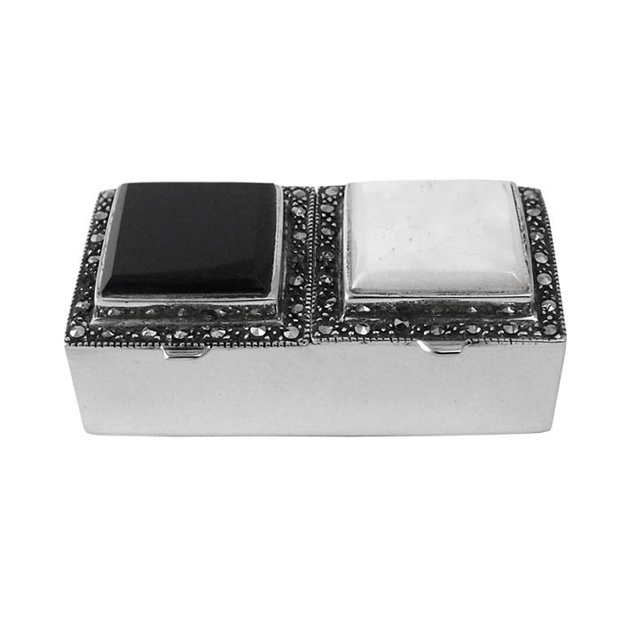 Sterling Silver Mother Of Pearl And Onyx Pill Box
