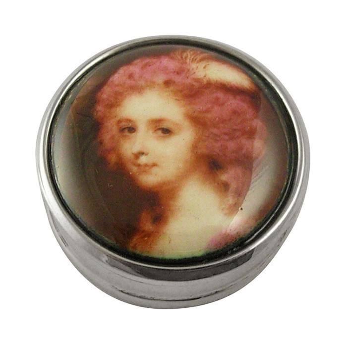 Sterling Silver Portrait Picture Pill Box
