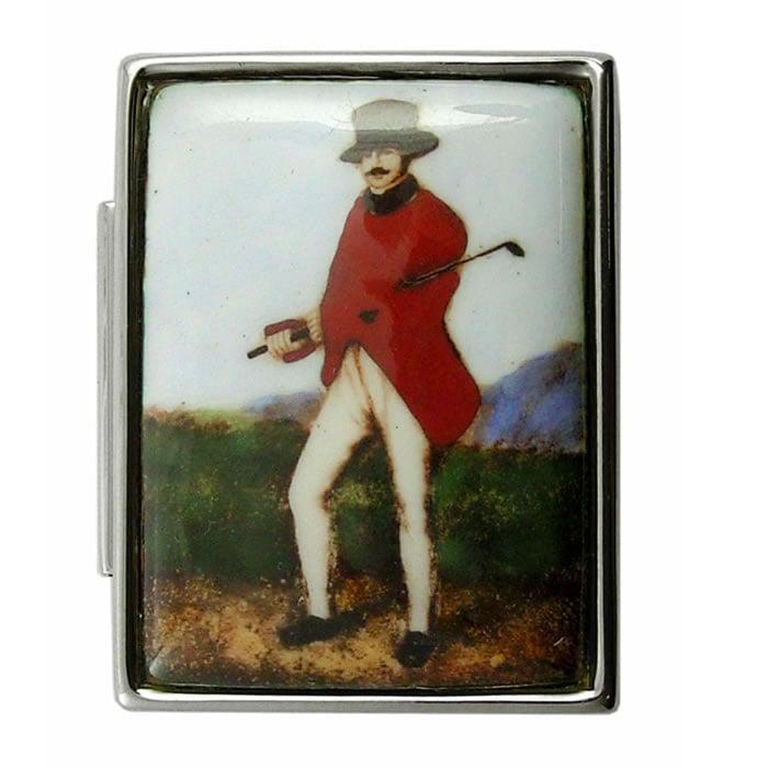 Sterling Silver Fox Hunter Picture Pill Box