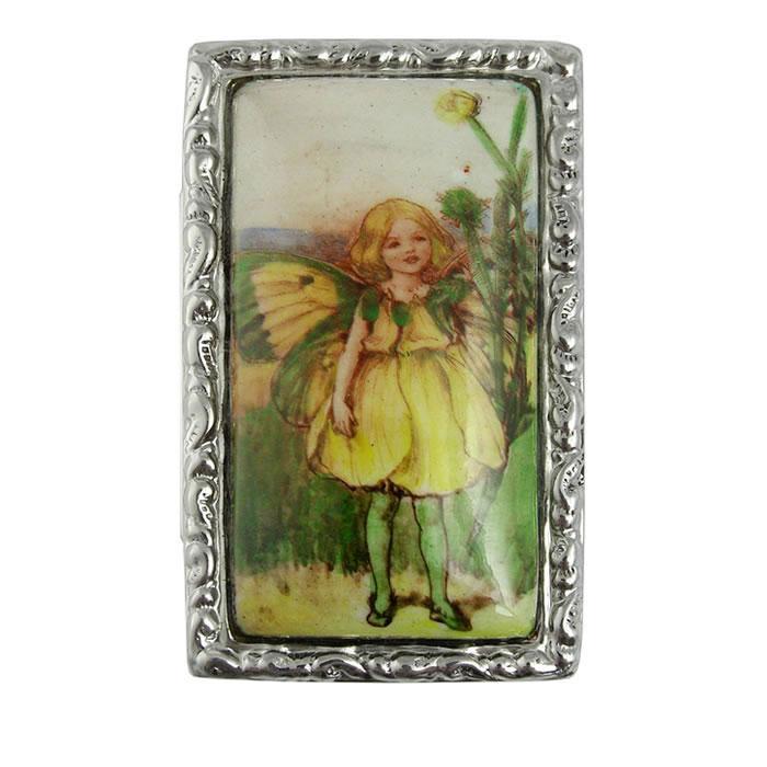Sterling Silver Garden Fairy Picture Pill Box