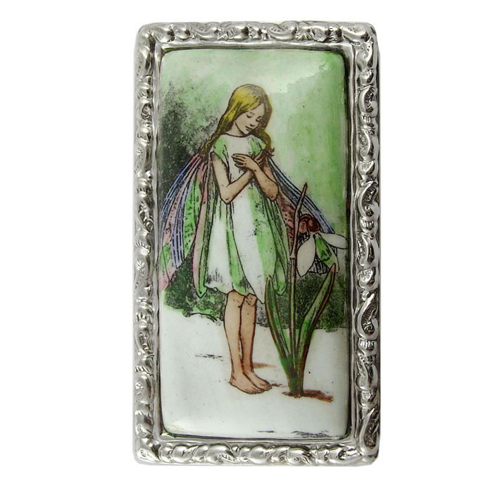 Sterling Silver Fairy Picture Shaped Pill Box