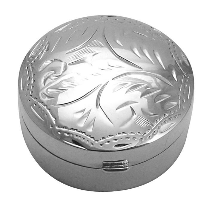 Sterling Silver Circular Engraved Pill Box