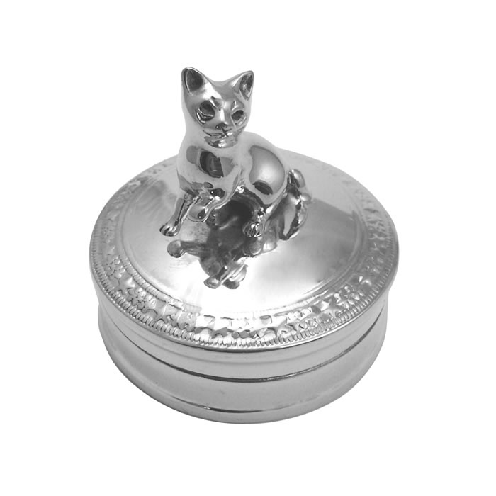 Sterling Silver Kitten Pill Box