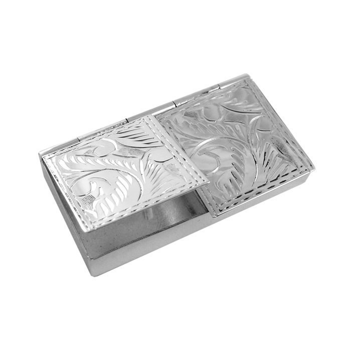 Sterling Silver 2 Piece Rectangular Engraved Pill Box