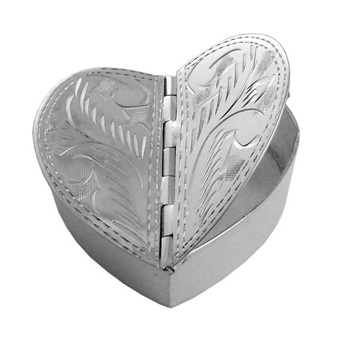 Sterling Silver 2 Piece Engraved Heart Pill Box