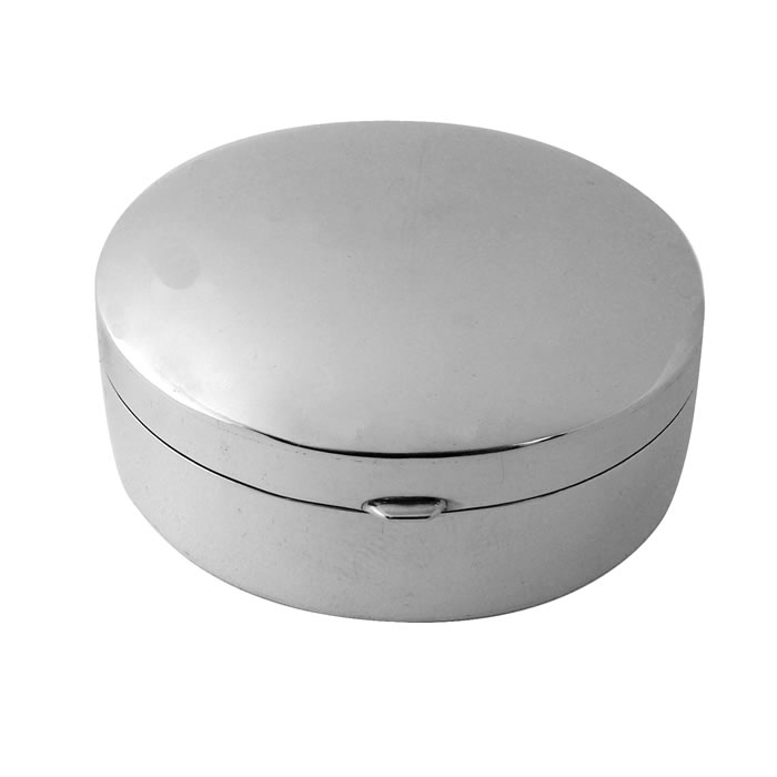 Sterling Silver Large Circular Plain Pill Box
