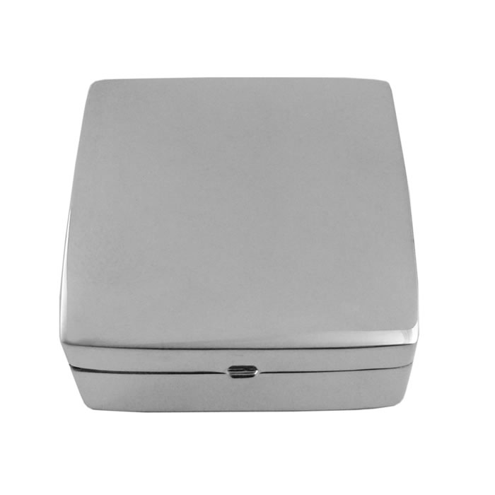Sterling Silver Large Square Plain Pill Box