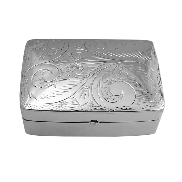 Sterling Silver Large Rectangular Engraved Pill Box