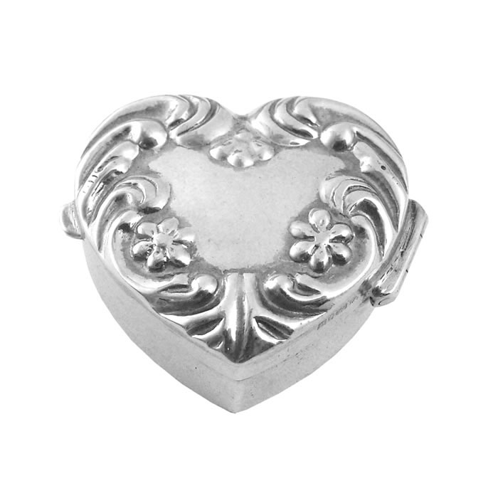 Sterling Silver Patterned Heart Pill Box