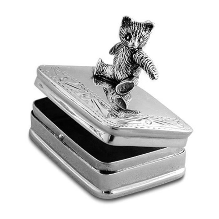 Sterling Silver Moveable Teddy Bear Box