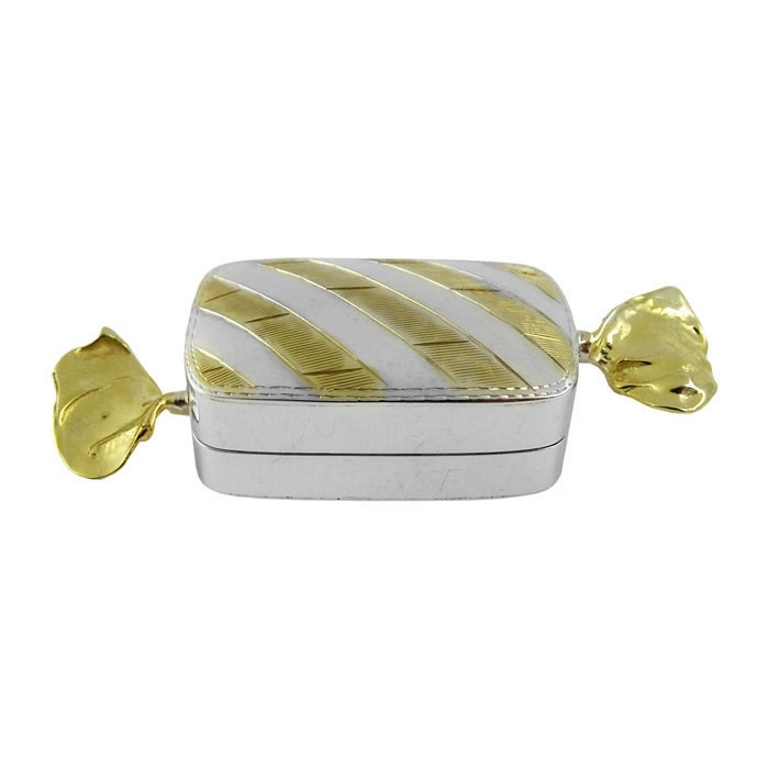 Sterling Silver With Gold Plate Rectangle Sweetie Pill Box