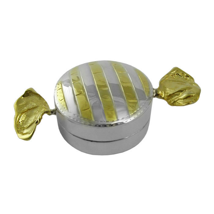 Sterling Silver With Gold Plate Round Sweetie Pill Box
