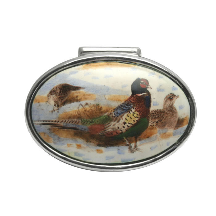 Sterling Silver Pheasant Picture Pill Box