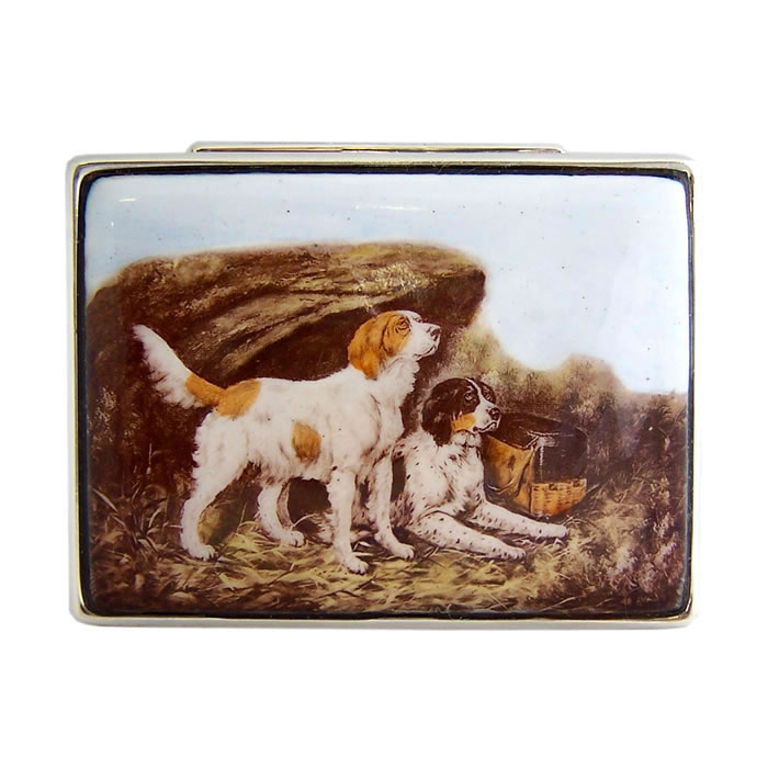 Sterling Silver Rectangular Hunting Dogs Picture Pill Box
