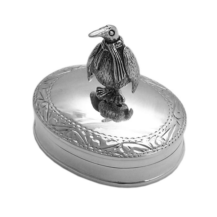 Sterling Silver Engraved Bird Pill Box