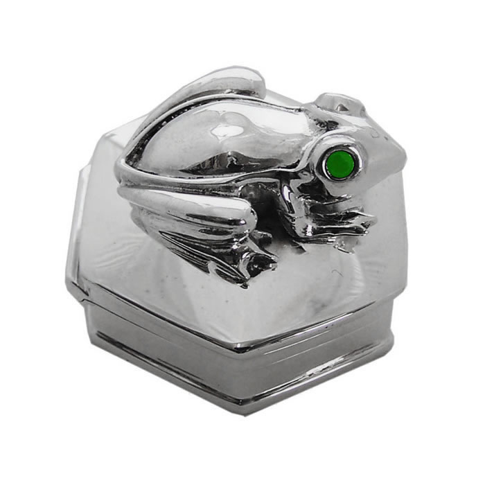 Sterling Silver Frog Motif Pill Box