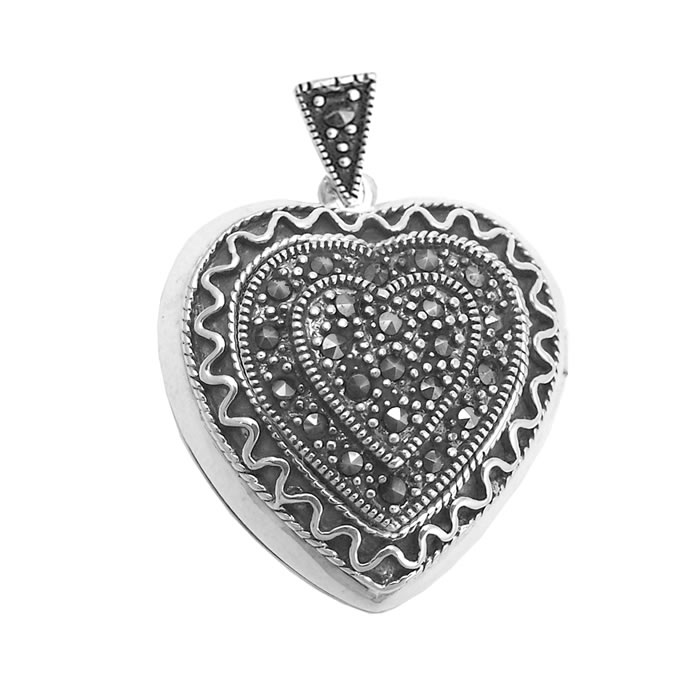 Sterling Silver Marcasite Patterned Heart Locket Pendant