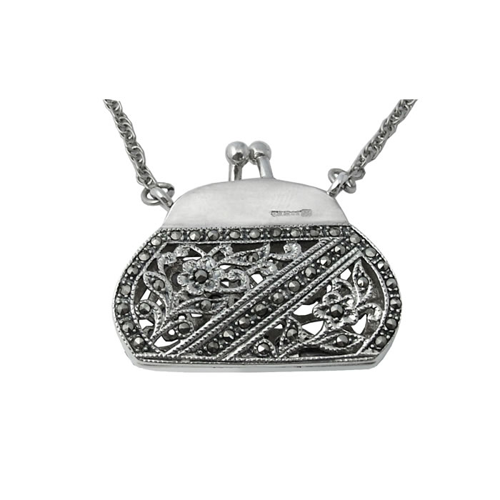 Sterling Silver Marcasite Floral Purse Pendant