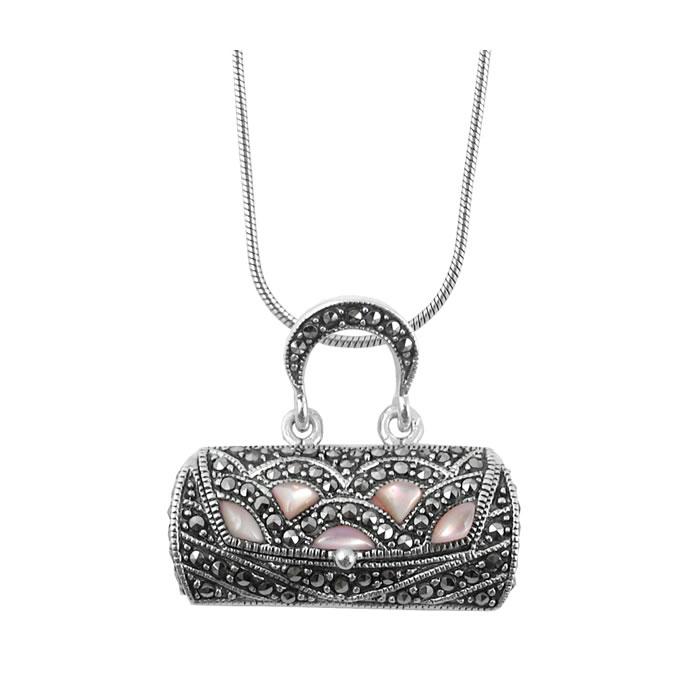 Sterling Silver Marcasite Handbag Pendant