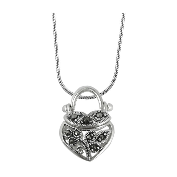 Sterling Silver Heart Shaped Marcasite Floral Handbag Pendant
