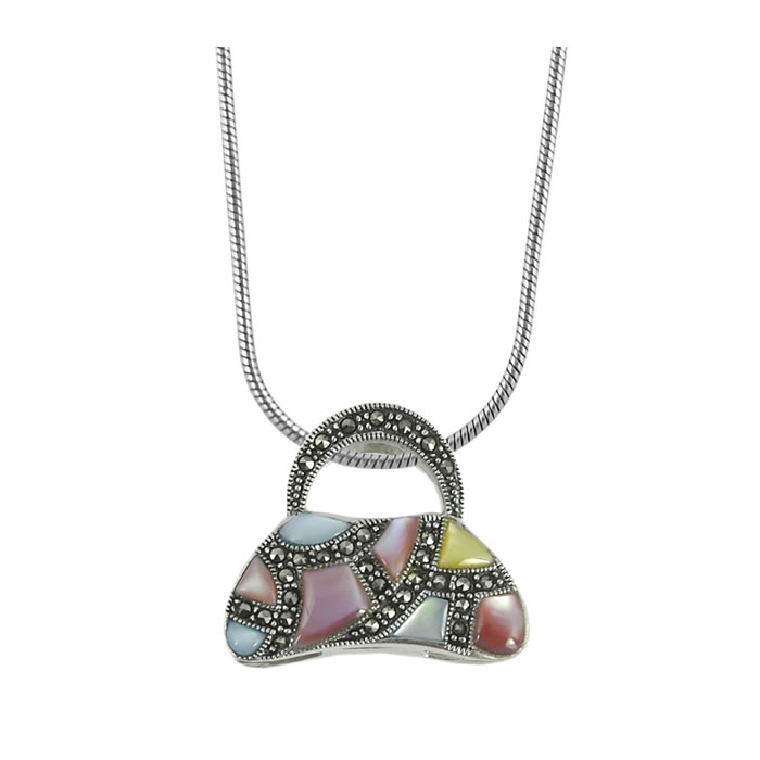 Sterling Silver Marcasite Multi Coloured Enamel Handbag Pendant
