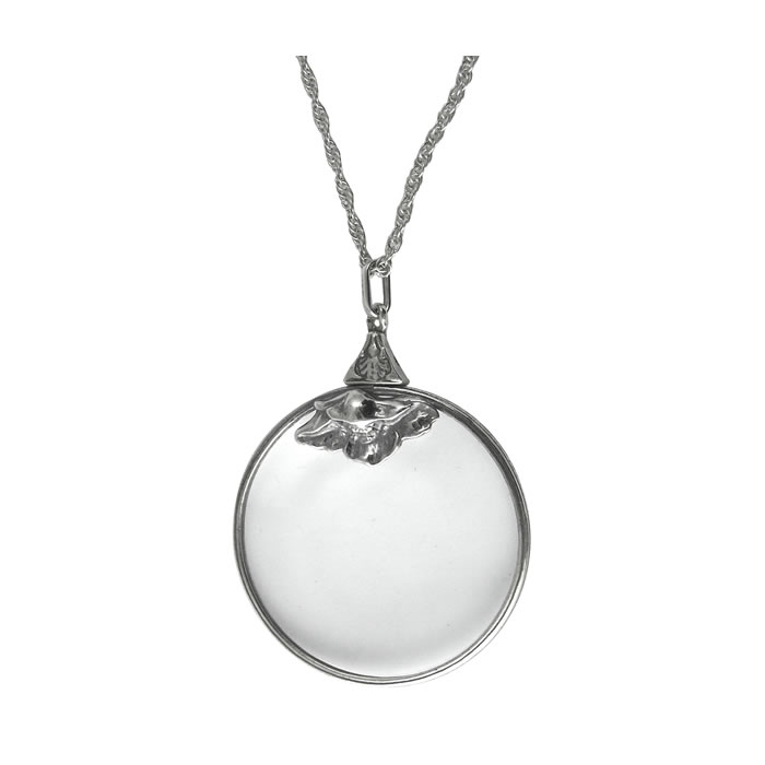 Sterling Silver Round Magnifying Glass Pendant