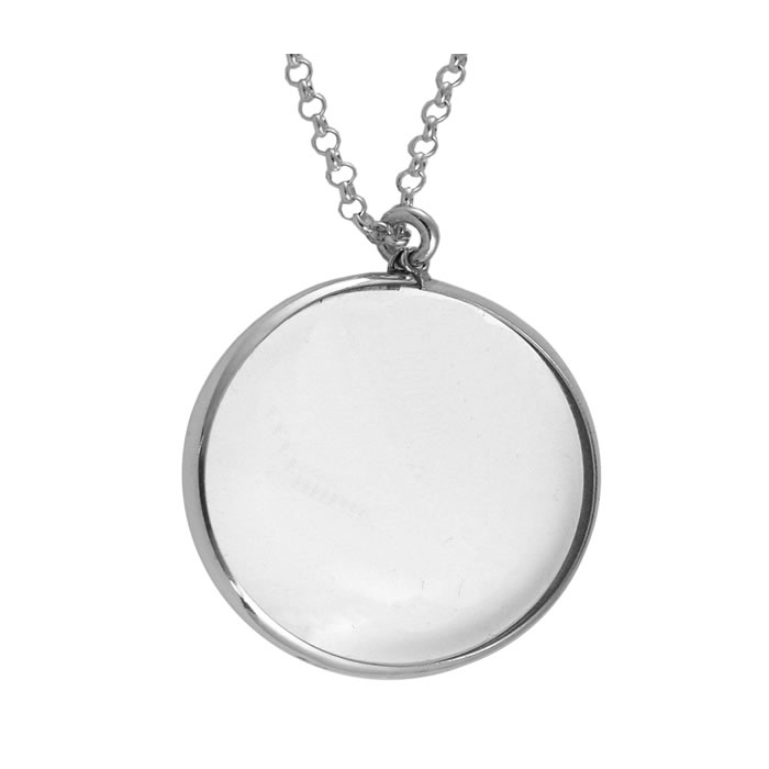 Sterling silver plain magnifying glass pendant aloadofball Image collections