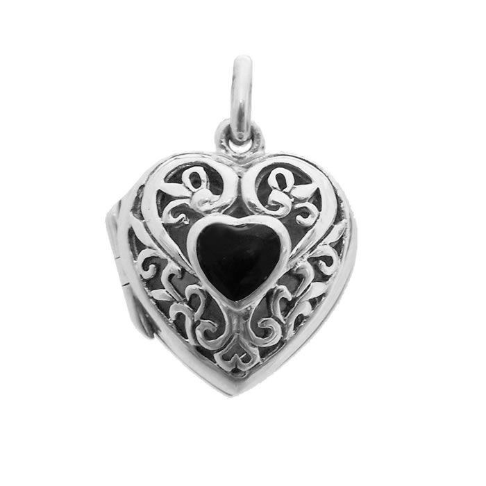 Sterling Silver Black Heart Shaped Locket Pendant