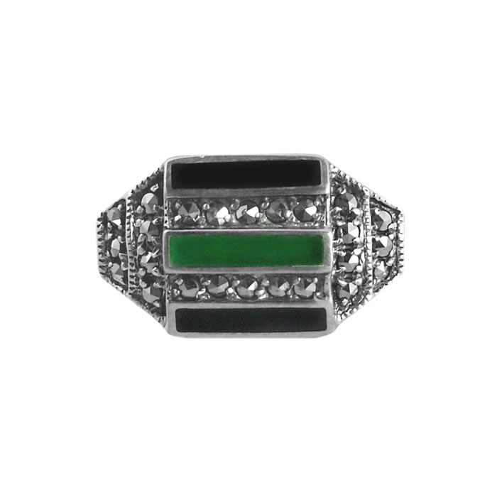 Sterling Silver Marcasite Onyx And Green Agate Bars Ring