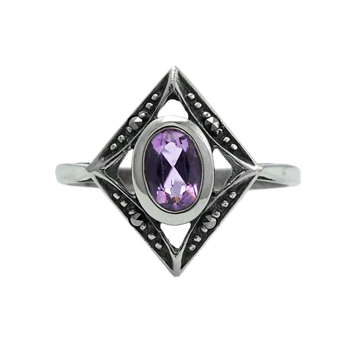 Sterling Silver Marcasite And Amethyst Art Nouveau Diamond Shaped Ring