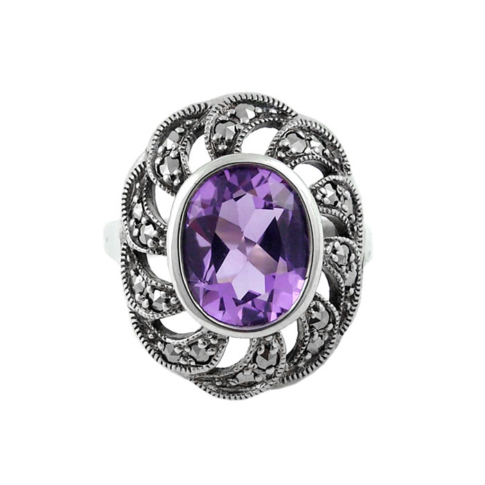 Sterling Silver Marcasite And Amethyst Art Nouveau Circular Ring