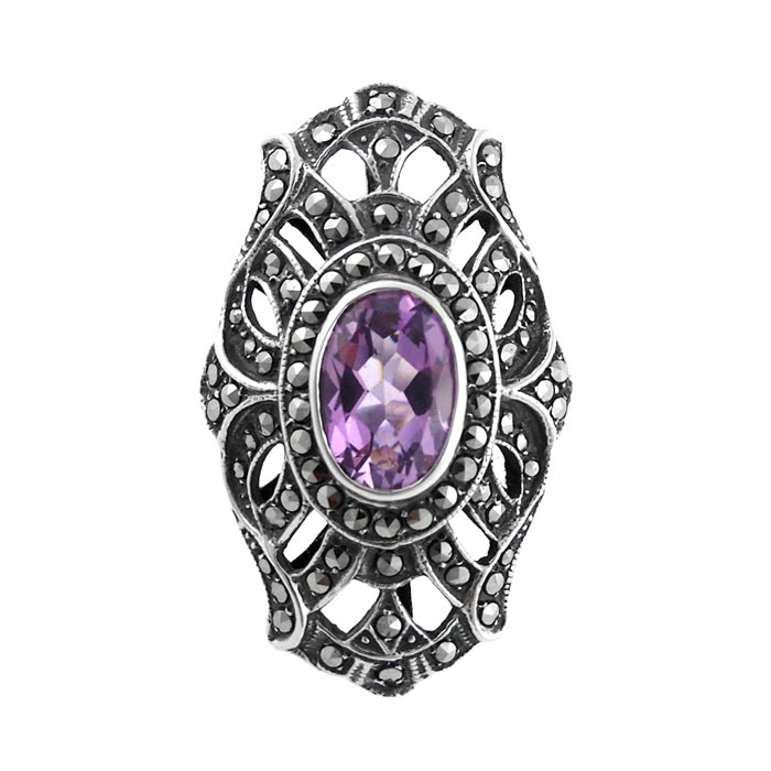 Sterling Silver Marcasite And Amethyst Art Nouveau Patterned Ring