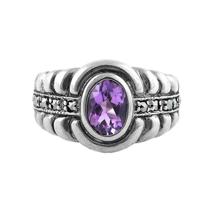 Sterling Silver Marcasite And Amethyst Art Nouveau Oval Shaped Ring