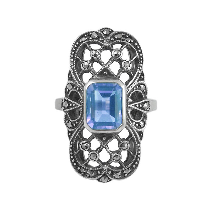 Sterling Silver Marcasite And Topaz Art Nouveau Rectangle Ring
