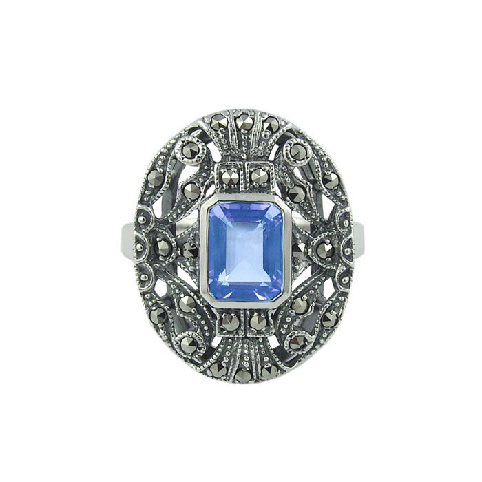 Sterling Silver Marcasite And Topaz Art Nouveau Oval Ring