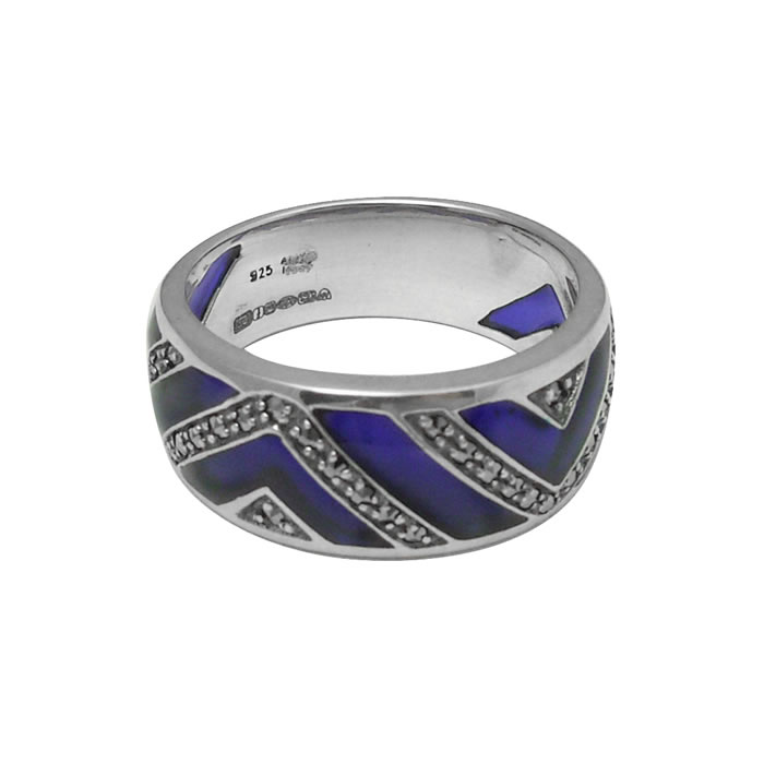 Sterling Silver Dark Blue Enamel And Marcasite Ring