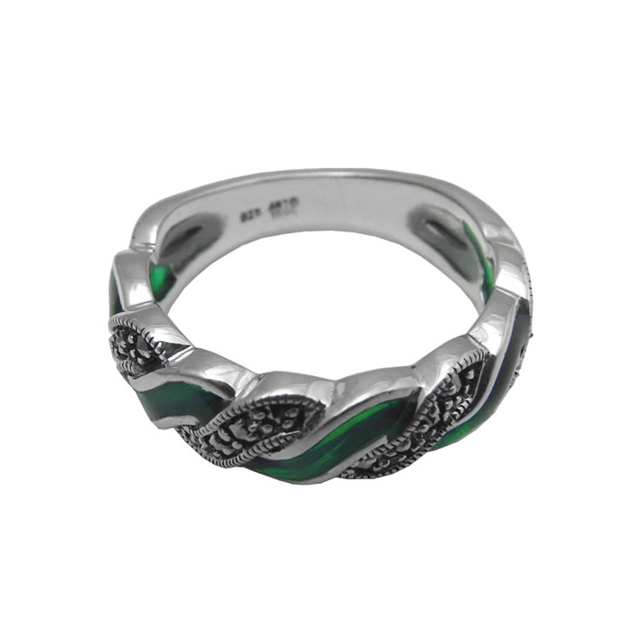 Sterling Silver Green Enamel And Marcasite Entwine Ring