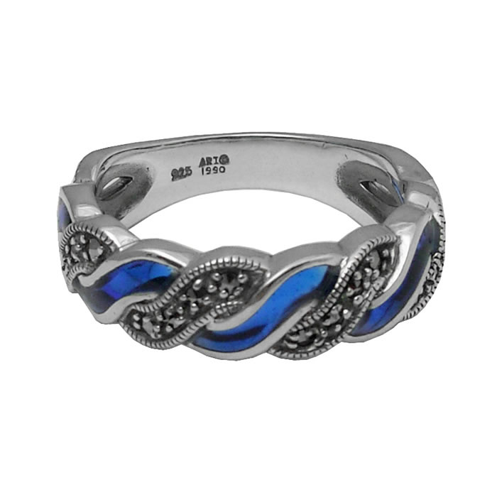 Sterling Silver Blue Enamel And Marcasite Entwine Ring