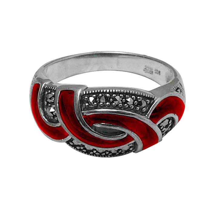 Sterling Silver Red Enamel And Marcasite Loop Ring