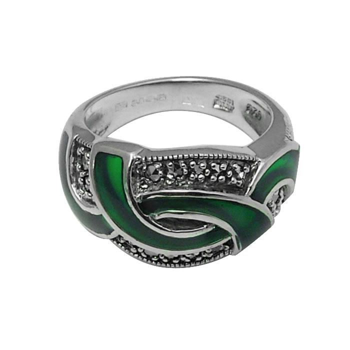 Sterling Silver Green Enamel And Marcasite Loop Ring