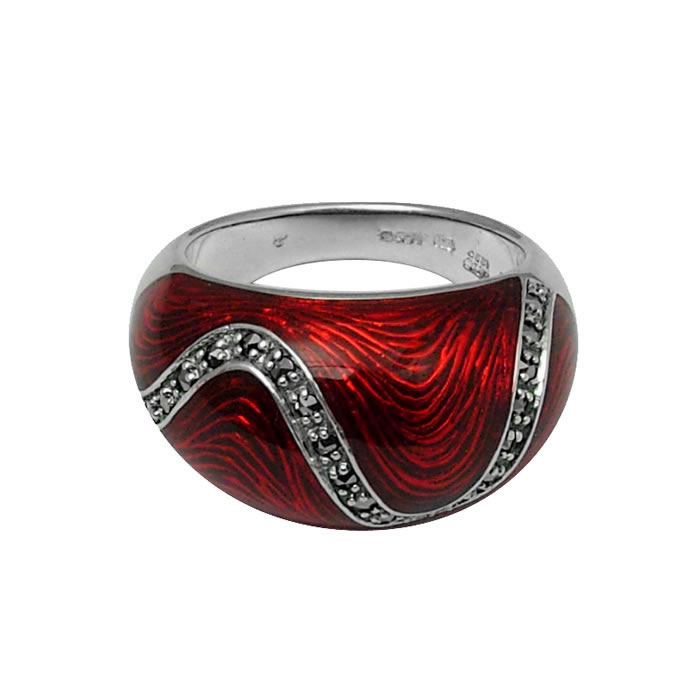 Sterling Silver Red Marcasite Bullet Ring