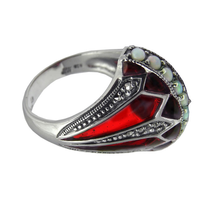 Sterling Silver Ornate Marcasite Ring