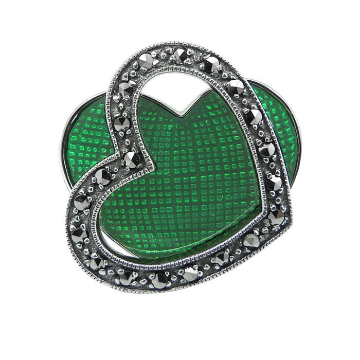 Sterling Silver Green Marcasite Heart Ring