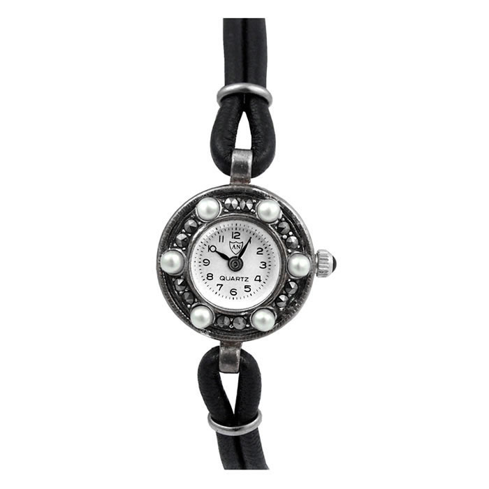 Sterling Silver Marcasite And Freshwater Pearl Watch