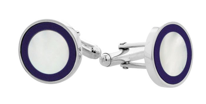 Sterling Silver Round Inset Mother Of Pearl Cufflinks