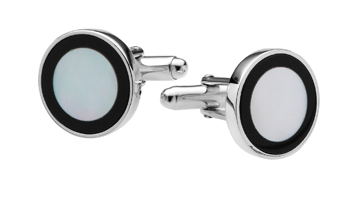 Sterling Silver Round Inset Mother Of Pearl And Onyx Cufflinks