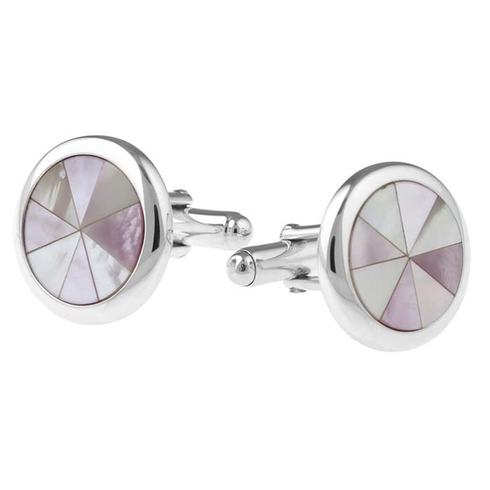 Sterling Silver Round Mother Of Pearl Post Cufflinks
