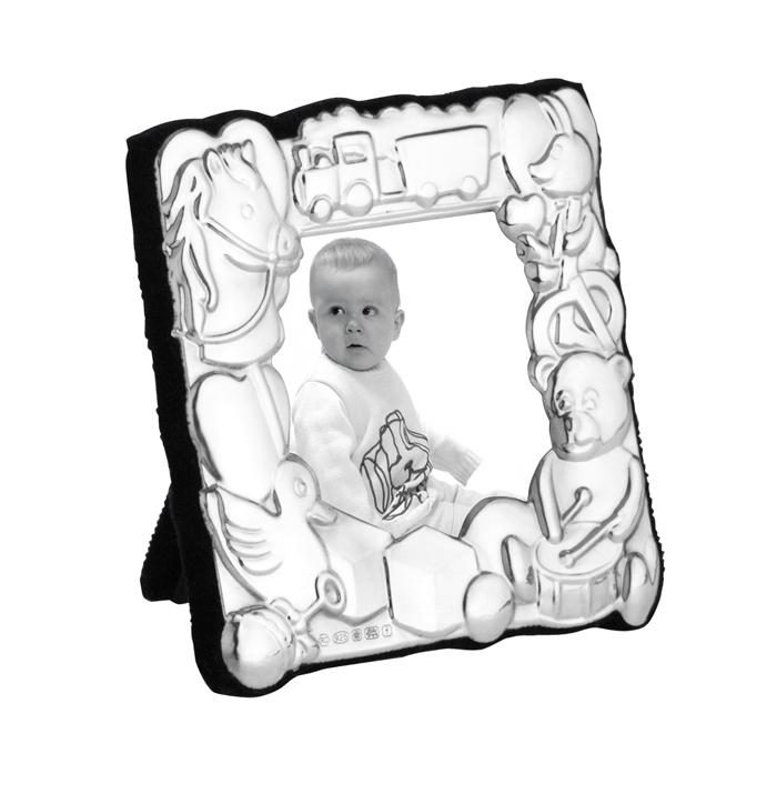 Sterling Silver Babys 5x5 Cm Photo Frame With Velvet Back