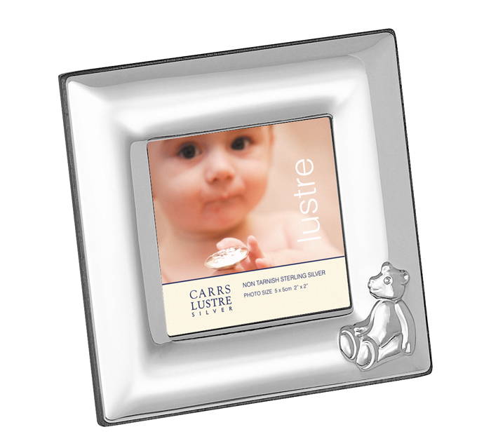 Silver Square Baby Bear Photo Frame