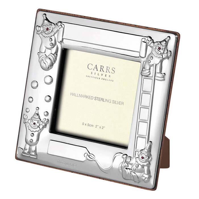 Sterling Silver Childs Clown Square Photo Frame 5x5 Cm Maple Finish